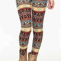 A&#x27;GACI Natural Tones Fairisle Legging - BOTTOMS