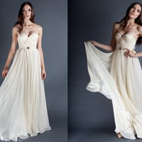 Ivory Annie Wedding Gown Silk Hand Gathered Bustier by reddoll