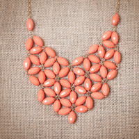 Peach Tessellate Bib Statement Necklace