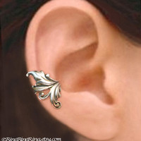 925. Royal Leaf - Sterling Silver ear cuff earring, non pierced earcuff jewelry for men and women 110512