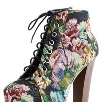 Make Me Chic Meoww Black Floral Fabric Wooden Heel Booties shop Boots at MakeMeChic.com
