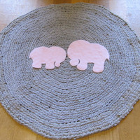 OOAK Upcycled Crochet Round T Shirt Rug. Elephant Rug. Nursery Rug. Made to Order