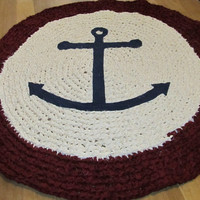 OOAK Upcycled Crochet Rag Rug. Anchor Rug. 3 foot Rug. Made to order.