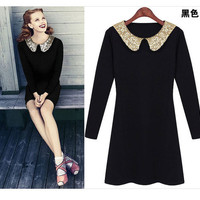 New Womens European Fashion Sequined lapel Chic Long-sleeved Dress 2 Colors L158
