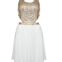 Parisian Cream Sequin Cut Out Prom Dress