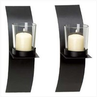 Amazon.com: Modern Art Candle Holder Wall Sconce Plaque Set Of Two: Kitchen & Dining