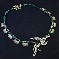 Handmade Brass Bird in Flight Green Bead and Brass Filigree Necklace