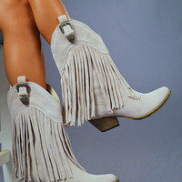 Shake It For Me Fringe Boots: Light Grey | Hope's