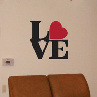 Wall Decal Quote LOVE Square with a Heart  Vinyl Wall Art Sticker