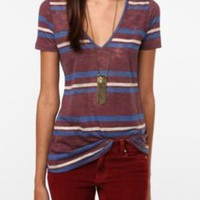 BDG Striped Deep-V Tee