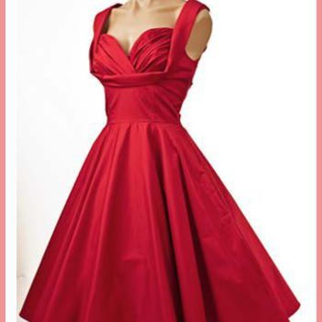 Trashy Diva Red 1950s Inspired Swing Dress-Honey Dress-Retro Dresses