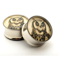 Owl Picture Plugs gauges 00g 1/2 9/16 5/8 by mysticmetalsorganics