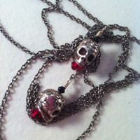 Skulls & Roses Lariat by JonseyK on Etsy