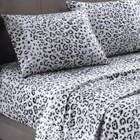 Cozy Spun Brushed Snow Leopard Print Sheet Sets