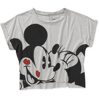 Walmart: Juniors Mickey and Minnie Smooches Crop Graphic Tee
