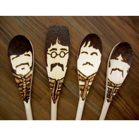Sgt. Pepper Moustache Spoons - Wooden - Set of 4 Beatles