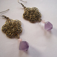 Bronze flower dangle earrings with amethyst and by cataclysmos