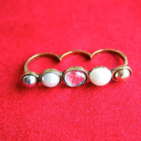 Funky Pearl Trio Three Finger Ring | Trinkettes