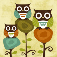 6R Retro Three Owl Friends 6x6 Prin.. on Luulla