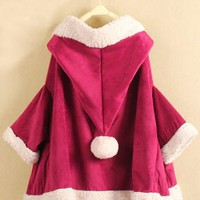 X'mas Pretty Fleece Cape Coat Rose Red$56.00