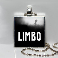 Limbo Video Game Dark Square Tile Pendant Necklace