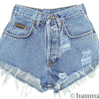 "Hanmattan ""PLAINO"" vintage denim shorts ALL SIZES blue distressed frayed jeans"