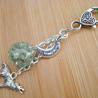 Howling Wolf Moon Green Crackle Glass Marble Keychain