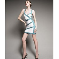 Herve Leger Banded Colorblock Dress [2011052311] - &amp;#36;298.00 : shoesoutletus.com, shoesoutletus.com