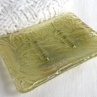 Clear and Antique Green Glass Soap Dish