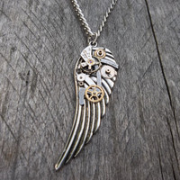 Clockpunk Steampunk Pendant Necklace, Antiqued Silver Wings with Watch Gears &amp; Parts on Curb Chain