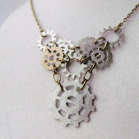 Steampunk Gear Necklace With Bronze &amp; Silver Gear Pendants