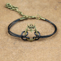 adjustable antique bronze retro style Owl Bracelet ,The best present for friends