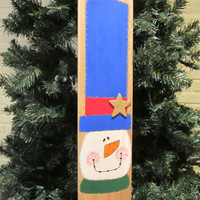 Christmas Sled Wood Painted Snowman Sled Wall Hanging Sign