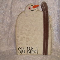"Snowman Wood Painted ""Ski Patrol"" Snowman Shelf Sitter"