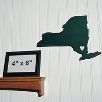 New York Jets &quot;State Heart&quot; wall art, handcrafted wood with official team colors