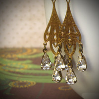 Vintage Rhinestone Earrings, Art Nouveau, Gypsy, Boho, Crystal