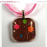 ON SALE - Glass Tile Pendant with Bright Flowers on a Pink Organza Necklace