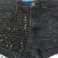 Grey Studded Vintage Shorts