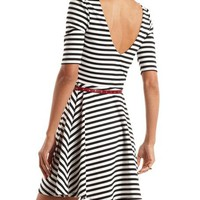 Belted Stripe Skater Dress: Charlotte Russe