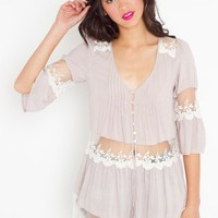 Ashbury Lace Top - Silver