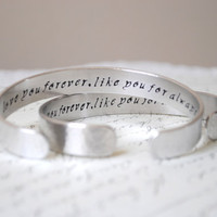 Love You Forever Like You For Always Secret Message Set of Two Hand Stamped Custom Cuff Bracelet