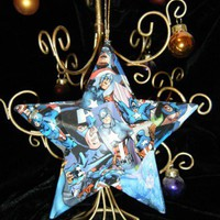 Captain America Comic Large Star Paper Mache Christmas Ornament