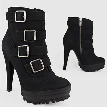 buckled grip sole bootie 34.70 in BLACK - Booties | GoJane.com