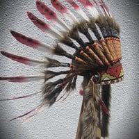 Red & White Spotted Feather Headdress