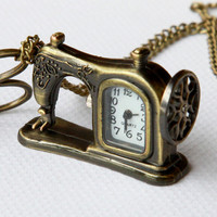 Retro style Pocket watch Necklace Sewing machines and by Sevinoma