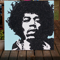 Wall Art - Glitter Art - Jimmy Hendrix - HUGE - 36x36 - Pop Art - Original -One of a Kind