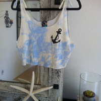 Cut Out Crop Tank Top- Anchor - Sky Blue - ADULT -
