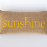 burlap pillow, sunshine yellow pillow, decorative word pillow, home accent, child's room, nursery decor, whimsysweetwhimsy