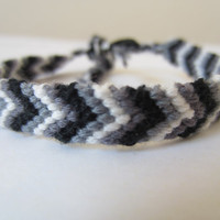 Chevron Braided Friendship Bracelet - Black White Grey