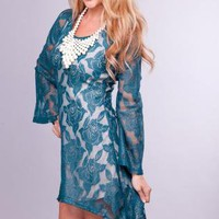 Teal Long Sleeve Floral High Low Dress with Scoop Neck